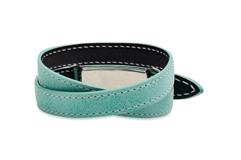 Spruce Metallic Black and Turquoise Double Wrap Reversible Leather Buckle Bracelet