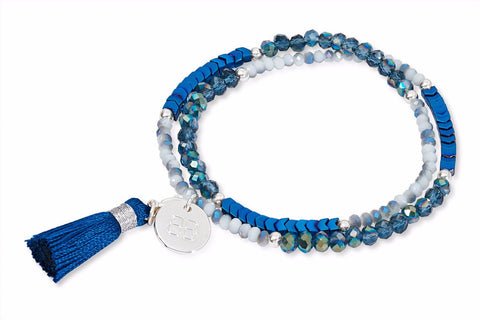 Harebell Blue Crystal Tasseled Wrap Bracelet from Boho Betty - Zarabelle