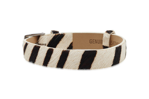 Holly White Animal Skin Leather Bracelet with Steel Buckle from Boho Betty - Zarabelle