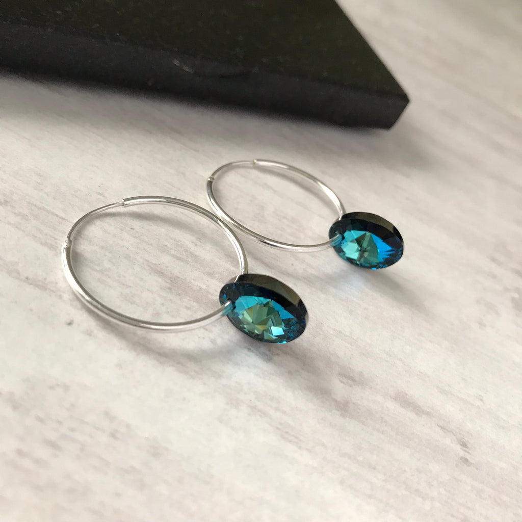 Silver Hoop Earrings with Vibrant Blue Swarovski Crystals from KookyTwo - Zarabelle