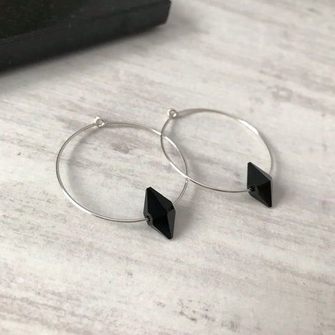 Silver Hoop Earrings with Black Swarovski Spike Bead Crystals from KookyTwo - Zarabelle