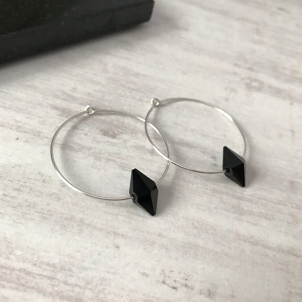 Silver Hoop Earrings with Black Swarovski Spike Bead Crystals