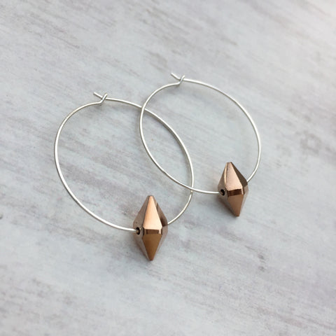 Silver Hoop Earrings with Rose Gold Swarovski Spike Bead Crystals from KookyTwo - Zarabelle
