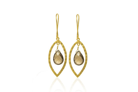 Hudson Gold Drop Earrings With Smokey Flint from Boho Betty - Zarabelle