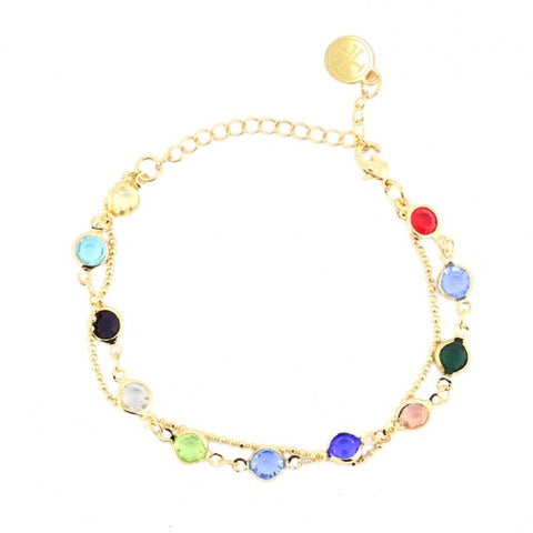 Chain Bracelet with Rainbow Crystals