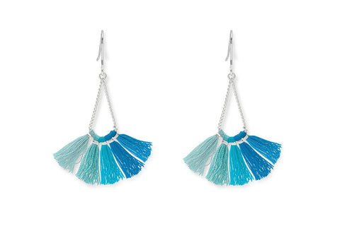 Kai Aqua Ombre Tassel Earrings from Boho Betty - Zarabelle