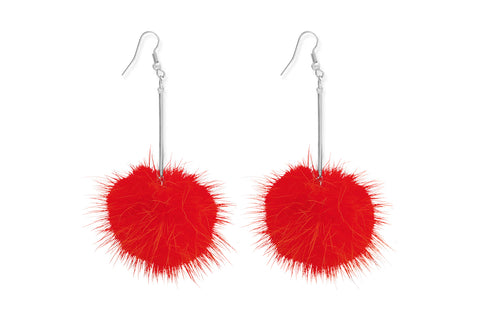 Krait Orange Pompom Earrings from Boho Betty - Zarabelle