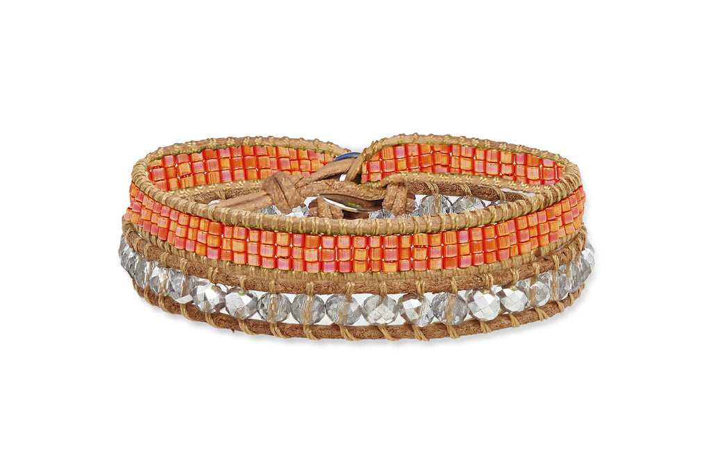 Cornell Double Wrap Orange Beaded Bracelet from Boho Betty - Zarabelle