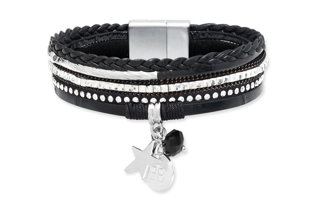Lemming Black Faux Leather Magnetic Clasp Bracelet from Boho Betty - Zarabelle