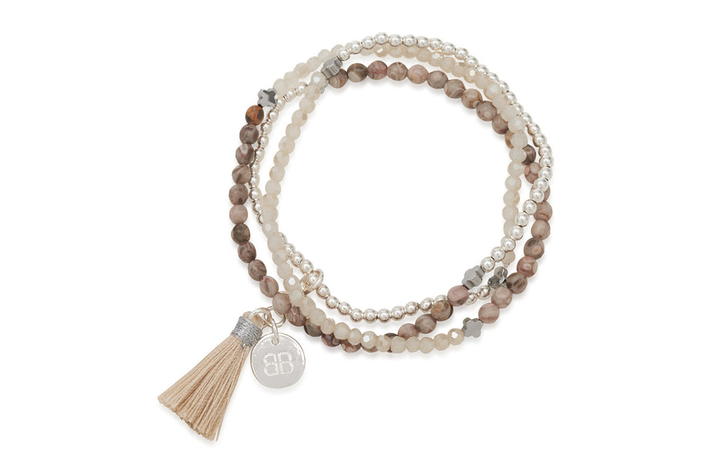 Lily Mixed Brown Agate Silver Tassel Bracelet from Boho Betty - Zarabelle