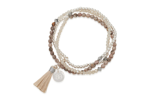 Lily Mixed Brown Agate Silver Tassel Bracelet