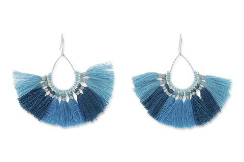 Mako Blue Ombre Fan Tassel Earrings from Boho Betty - Zarabelle