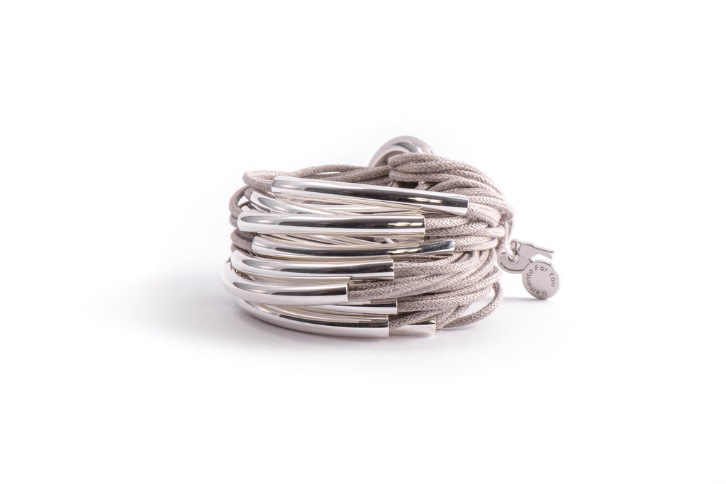 Handcrafted Grey Bracelet with Silver Bars from MFY - Zarabelle