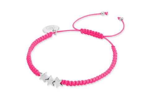 Molodist Fluoro Pink Cord Friendship Style Bracelet with Hematite Stars from Boho Betty - Zarabelle