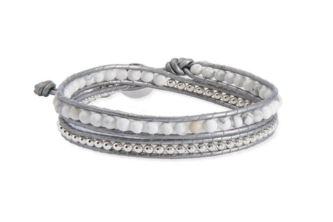 Orion Silver & White Jade Double Wrap Leather Bracelet from Boho Betty - Zarabelle
