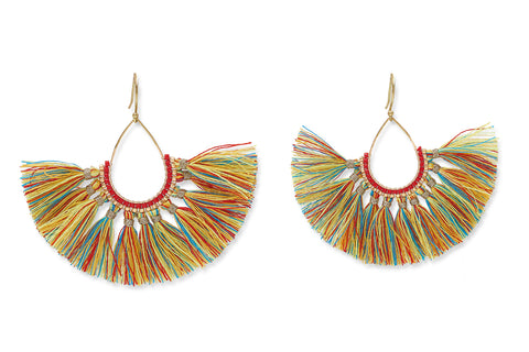 Pukai Multi Colour Fan Tassel Earrings from Boho Betty - Zarabelle