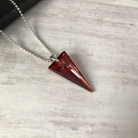 Silver Red Spike Pendant Necklace with Swarovski Crystal