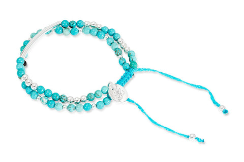 Pukkelpop Turquoise and Silver Friendship Style Bracelet from Boho Betty - Zarabelle