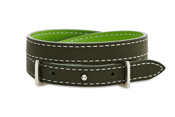 Rowan Dark & Light Green Double Wrap Reversible Leather Buckle Bracelet from Boho Betty - Zarabelle