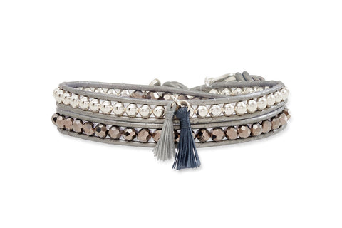 Silver Twist Double Wrap Leather Bracelet with Tassels from Boho Betty - Zarabelle