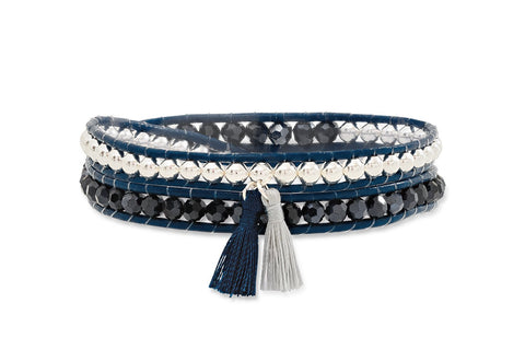 Starry Twist Double Wrap Leather Bracelet with Tassels from Boho Betty - Zarabelle