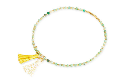 Sasquatch Green Beaded Tassel Stretch Bracelet from Boho Betty - Zarabelle