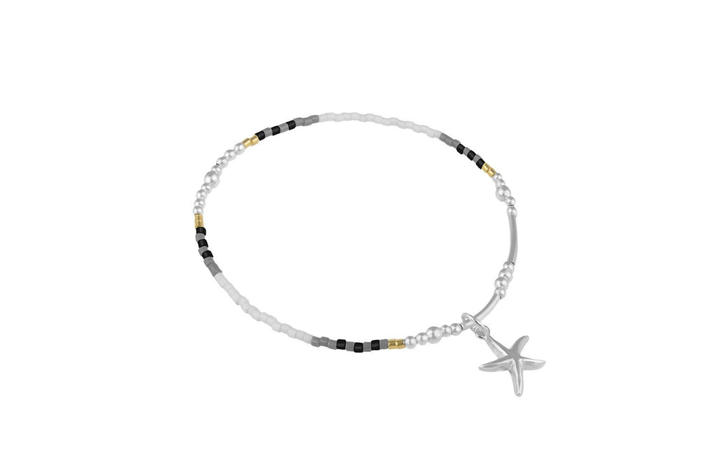Stargazer Charm Bracelet With Grey, White and Black Beads from Boho Betty - Zarabelle
