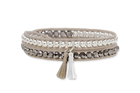 Taupe Twist Double Wrap Leather Bracelet with Tassels from Boho Betty - Zarabelle