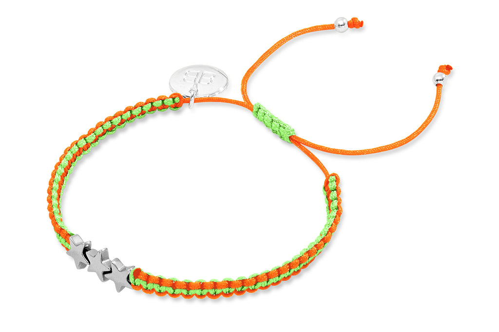 Taupou Fluoro Orange Star Friendship Style Bracelet from Boho Betty - Zarabelle