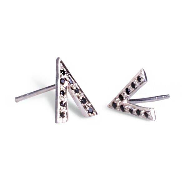 V Stud Earrings - Silver from Black Betty - Zarabelle