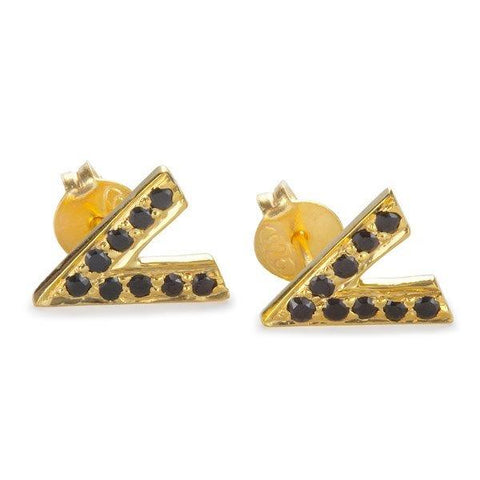 V Stud Earrings - Gold from Black Betty - Zarabelle