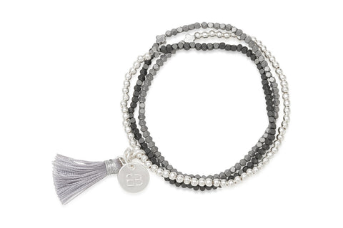 Vervain Mixed Grey Tassel Bracelet
