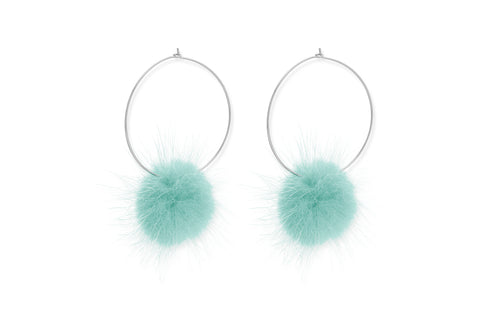 Walrus Aqua Hoop Pompom Earrings from Boho Betty - Zarabelle