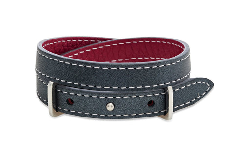 Yew Dark Grey and Red Double Wrap Reversible Leather Buckle Bracelet from Boho Betty - Zarabelle