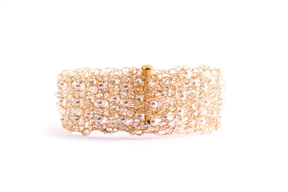 Gold Crochet Cuff Bracelet with Pearls and Crystals from Streetcat - Zarabelle