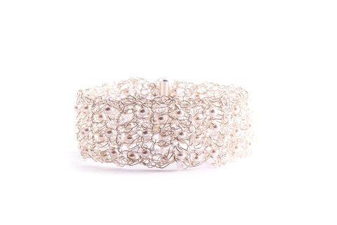Silver Crochet Cuff Bracelet with Pearls and Crystals from Streetcat - Zarabelle