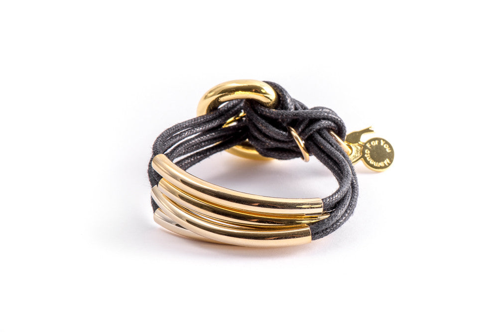 Handcrafted Black Bracelet with Gold Bars from MFY - Zarabelle