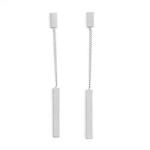 Steel Bar Earrings - Silver from Anartxy - Zarabelle