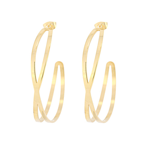 Large Crossover Hoop Earrings from Anartxy - Zarabelle
