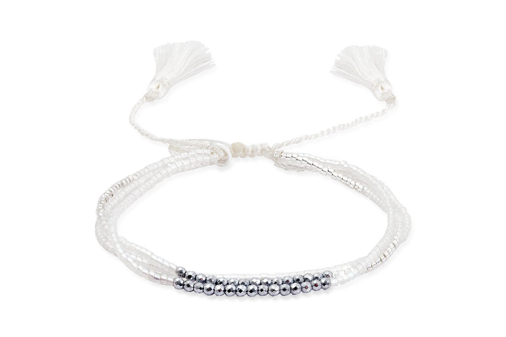 Scullers White Hematite Japanese Beaded Friendship Bracelet from Boho Betty - Zarabelle