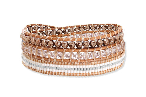 Caranee Wade Rose Gold Triple Wrap Crystal Bracelet from Boho Betty - Zarabelle