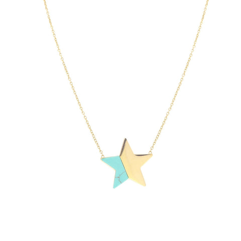 Star Necklace - Blue and Gold from Anartxy - Zarabelle