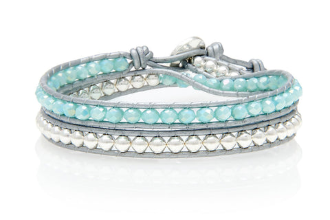 Splice Shine Silver and Blue Double Wrap Bracelet from Boho Betty - Zarabelle