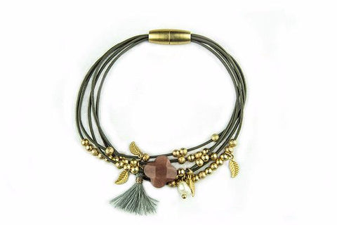 Subra Taupe Leather Charm Tassel Magnet Bracelet from Boho Betty - Zarabelle