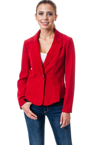 One Button Blazer Red