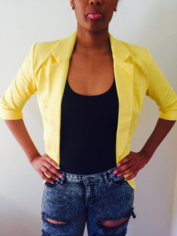 3/4 Sleeve Blazer Lemon