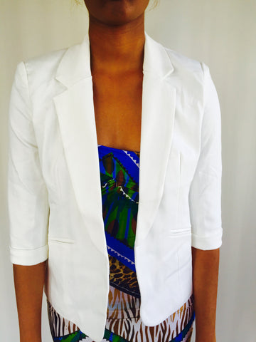3/4 Sleeve Blazer White