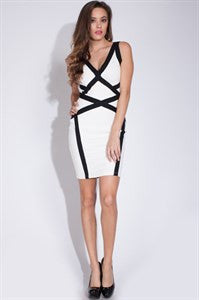 Bandage Dress White/Black