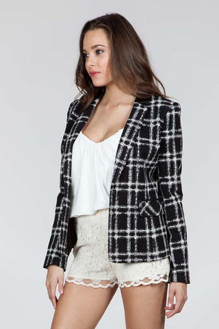Square Blazer Black/White