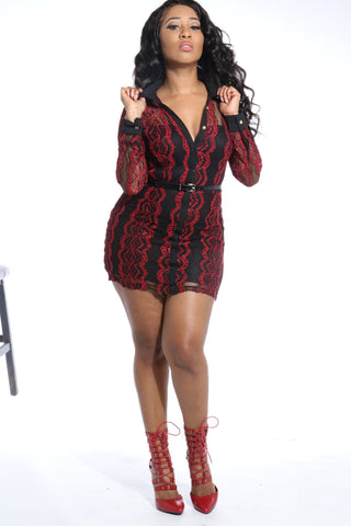 Belted Lace Dress Red/Black